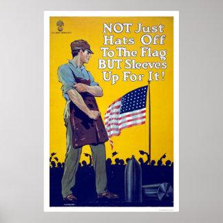 No apenas gorras apagado a la bandera póster