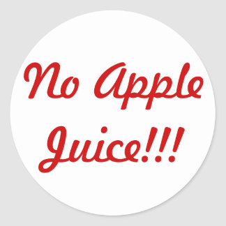 No apple juice sticker