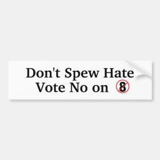 No arrogue el odio, votan no en el apoyo 8 pegatina para auto