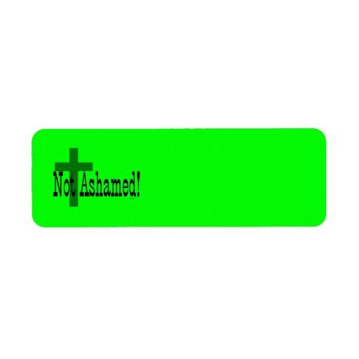 ¡No avergonzado! 1:16 de los romanos (con la cruz) Etiqueta De Remite
