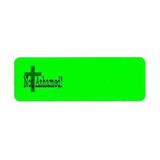 ¡No avergonzado! 1:16 de los romanos (con la cruz) Etiqueta De Remitente