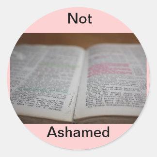 No avergonzado pegatinas redondas