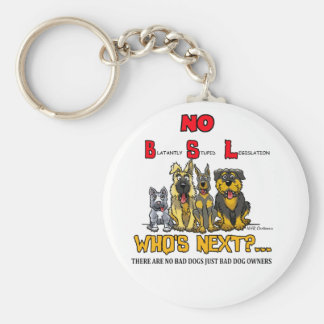 No B.S.L  No Breed Specific Legislation Basic Round Button Keychain