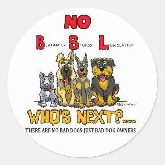 No B S L No Breed Specific Legislation Round Sticker