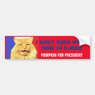 No Bad E Mail Here Pumpkin For President 2016 Bumper Sticker