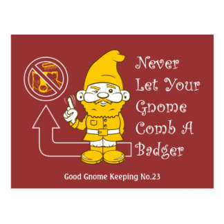 No Badgers For Gnomes Postcard