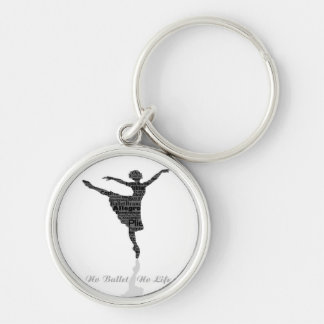 No Ballet No Life Silver-Colored Round Keychain