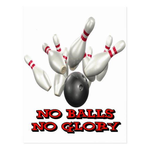 No Balls No Glory Bowling Post Cards