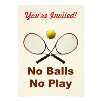 No Balls No Play Tennis Personalized Invitation