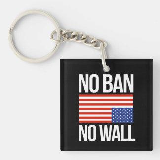 NO BAN NO WALL - white -  Keychain