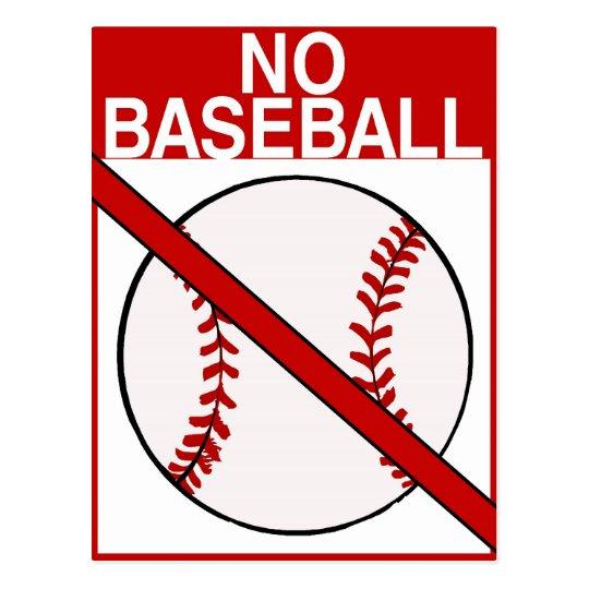 No Baseball Sign Postcard