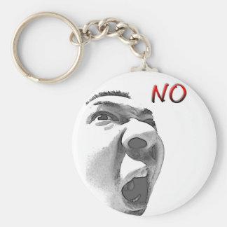 No !! basic round button keychain