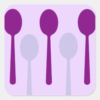 No bastantes cucharas pegatina cuadrada