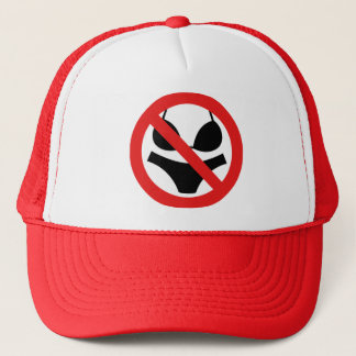 No Bathing Costume Sign Trucker Hat