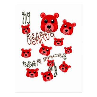 no beards , bear faces only postcard