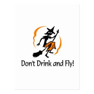 No beba y no vuele a la bruja postales