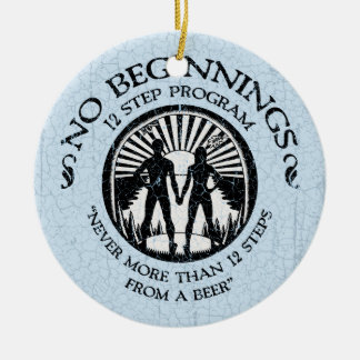 No Beginnings Double-Sided Ceramic Round Christmas Ornament