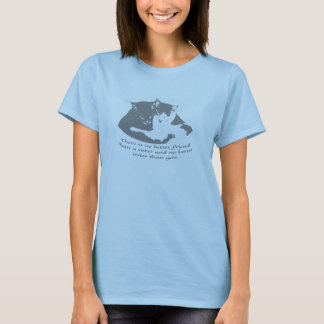 No better friend than a sister Cuddling Cat Quote T-Shirt