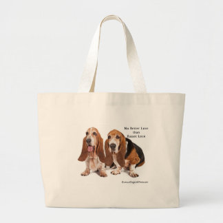 no better love than basset love jumbo tote bag