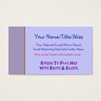 No Bigots No Racists Business Card