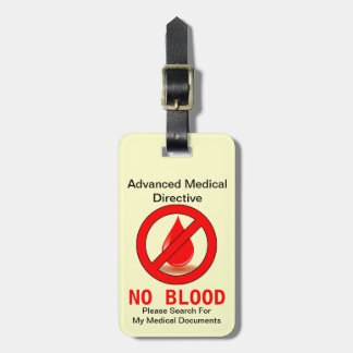 No Blood Bag Tag