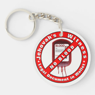 NO BLOOD ~ Emergency Info. on Back Keychain