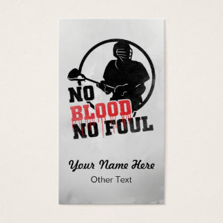 No Blood No Foul Lacrosse Custom Business Cards