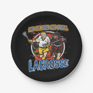 No Blood, No Foul Lacrosse Paper Plate