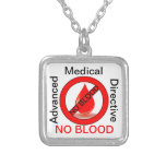 No Blood Square Pendant Necklace
