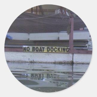 No Boating Round Sticker