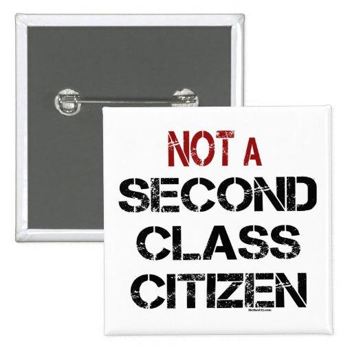 No botones del ciudadano de la segunda clase pin cuadrado