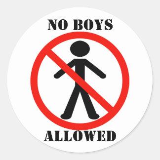 No Boys Allowed Classic Round Sticker