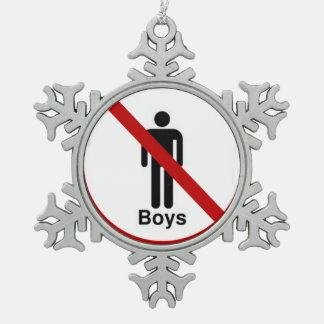 """No Boys"" design gifts and products Snowflake Pewter Christmas Ornament"