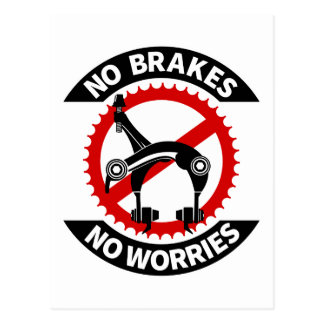 No Brakes No Worries Fixed Gear BMX Track Postcard
