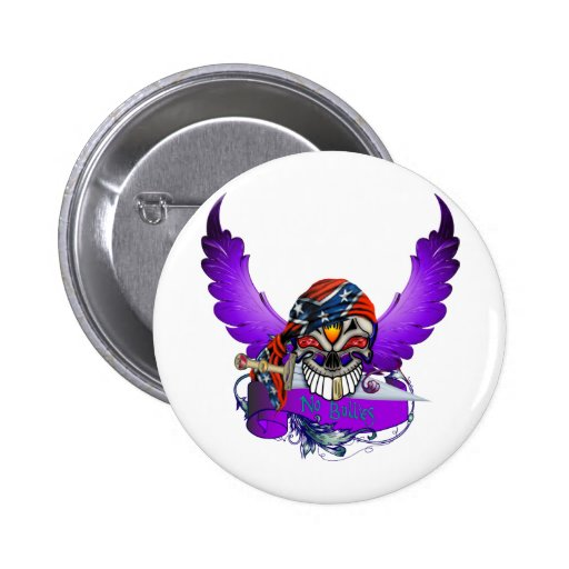 No Bullies Skull and Wings 2 Inch Round Button