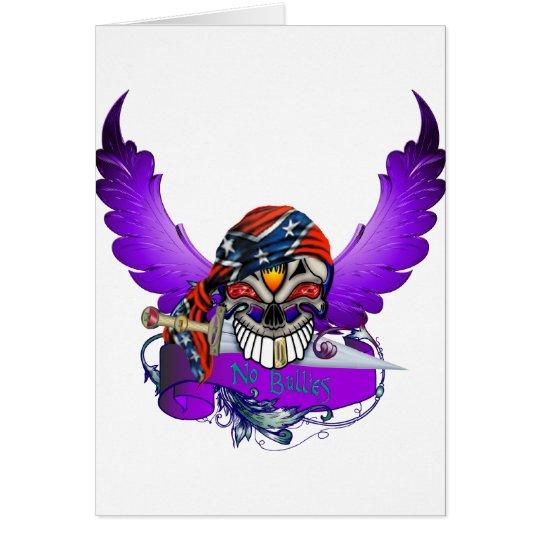 No Bullies Skull and Wings Card