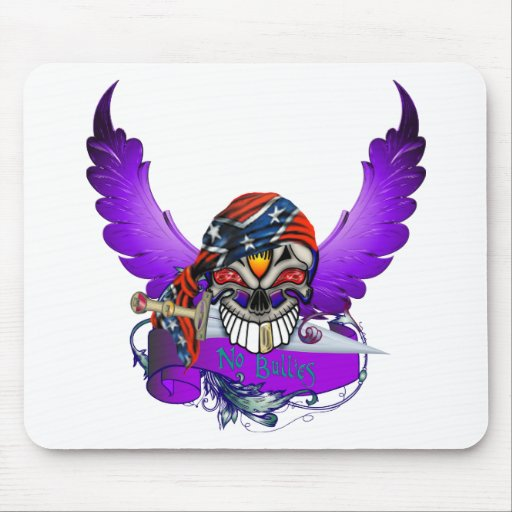 No Bullies Skull and Wings Mouse Pad
