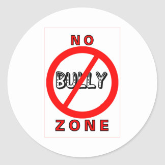 No Bully Zone Classic Round Sticker