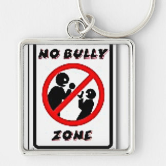 No Bully Zone Personalize for your school home Silver-Colored Square Keychain