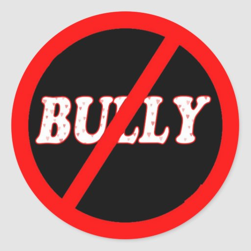 No Bully Zone Round Stickers
