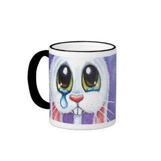 No Bunny Loves Me - Cute Sad Rabbit Ringer Coffee Mug