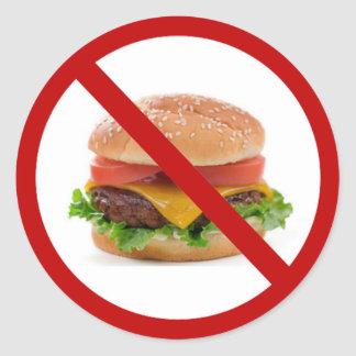 """No Burgers"" Classic Round Sticker"