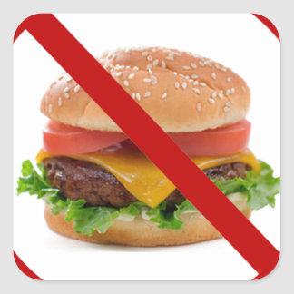 """No Burgers"" Square Sticker"