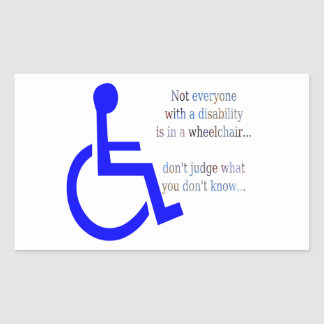 No cada uno con una incapacidad está en una silla pegatina rectangular