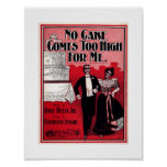 No Cake Comes Too High, Sheet Music 1899 Vintage Poster