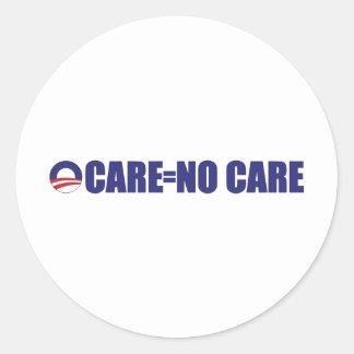 No Care Long Classic Round Sticker
