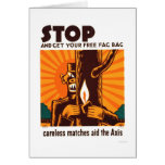 No Careless Matches 1942 WPA Greeting Card