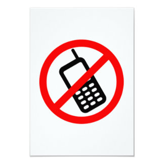 No Cell Phones Card