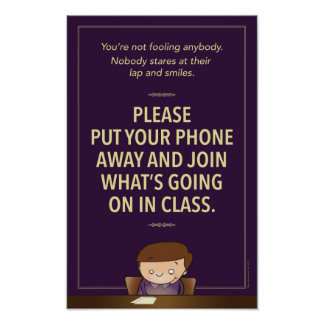 No cell phones in class. G-rated Poster