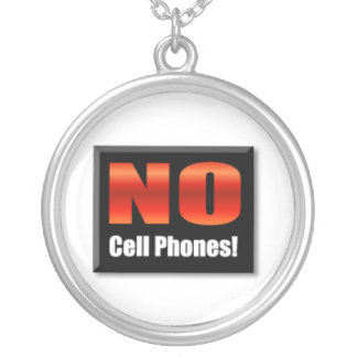 No Cell Phones Round Pendant Necklace
